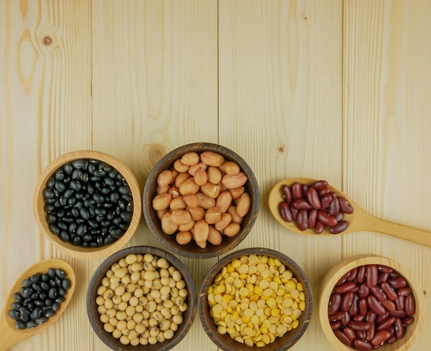 Flat lay,top view assorted beans including red bean