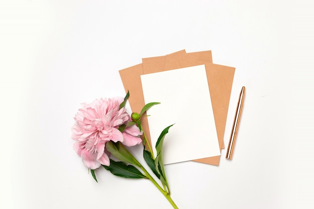 Flat lay top view of horizontal minimalist card with flowers