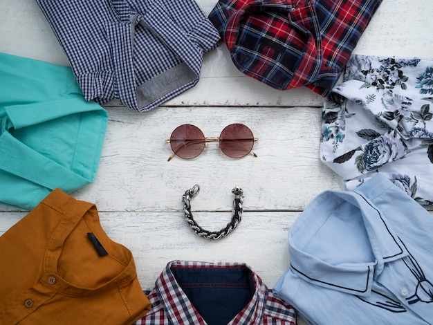 Flat lay, top view, men fashion casual clothing set