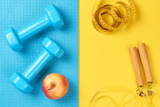 Flat lay, top view minimal background, fitness concept.