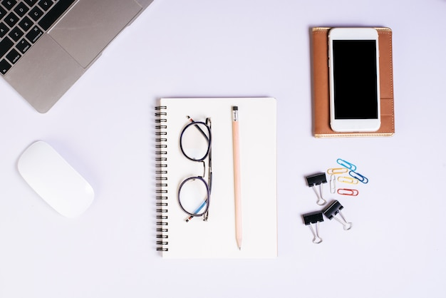 Flat lay, top view office table desk. workspace background