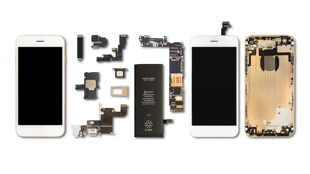 Flat lay (top view) of smartphone components isolate on white background with clipping path