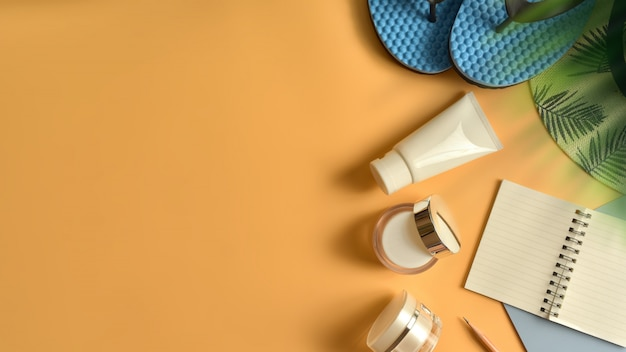 Flat lay, top view workspace in summer concept.