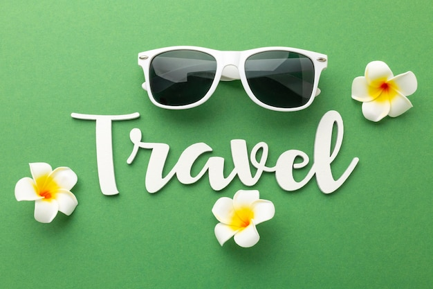 Flat lay travel items on green background