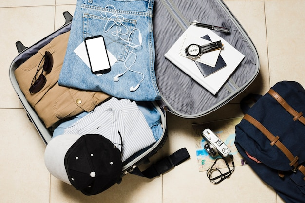 Flat lay travel luggage