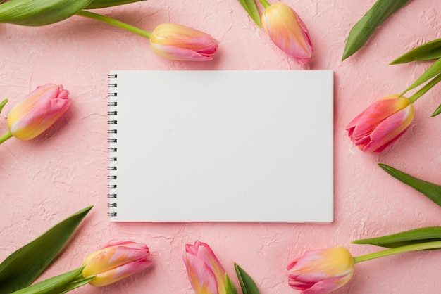 Flat lay tulips frame with notebook