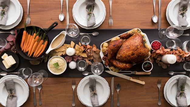 Flat lay turkey prepared for thanksgiving day