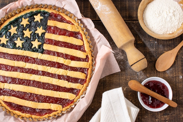 Flat lay usa flag pie on baking paper