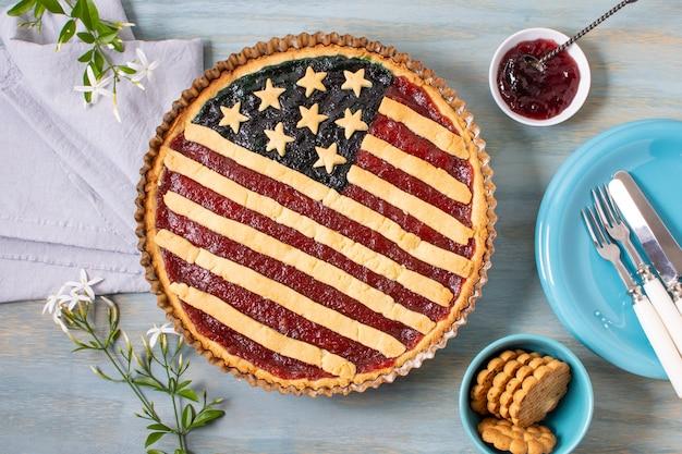 Flat lay usa flag pie