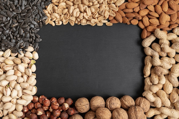 Flat lay of variety of nuts frame