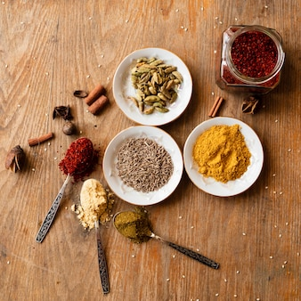 Flat lay variety of oriental spices