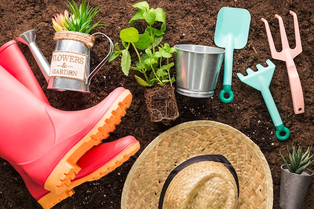 Flat lay of various garden objects