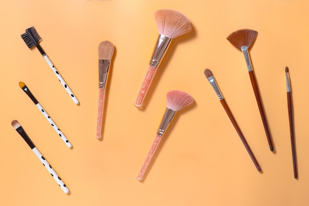 Flat lay of various make up brush