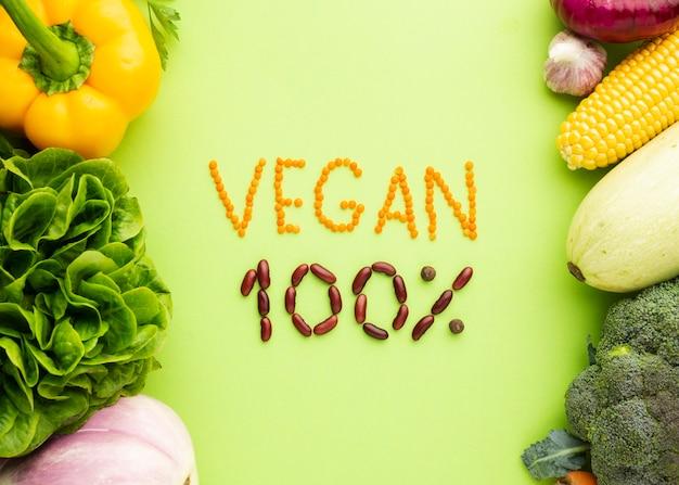 Flat lay vegan 100% lettering
