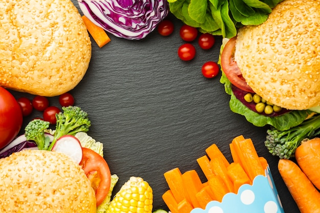 Flat lay vegan food arrangement with copy space