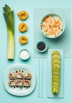 Плоская кладка овощей и рыбной диеты