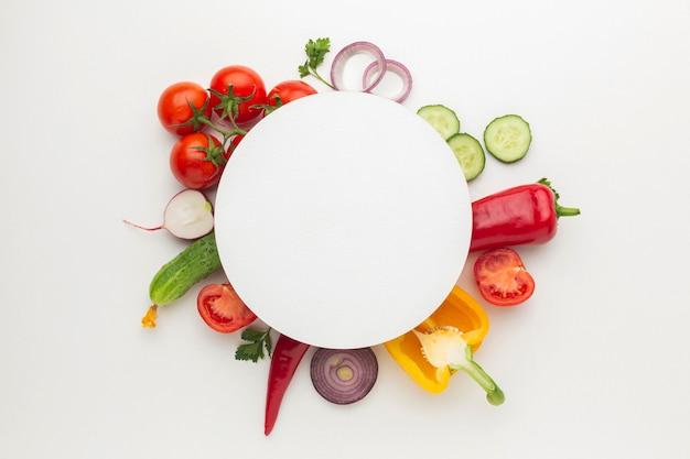 Flat lay vegetables arrangement