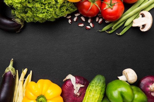 Flat lay vegetables composition with copy space