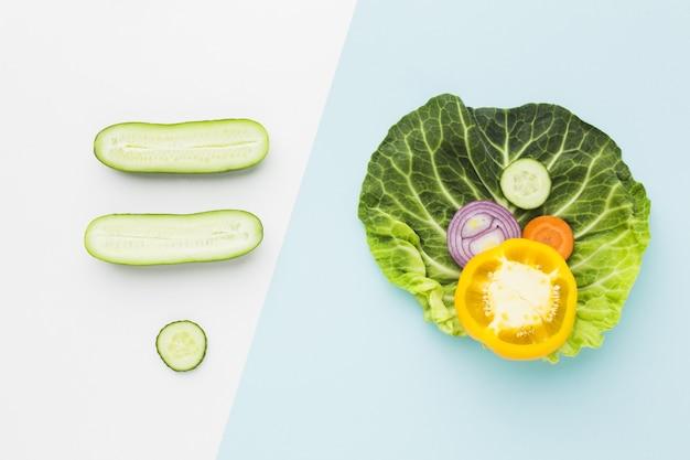 Flat lay of vegetables concept arrangement