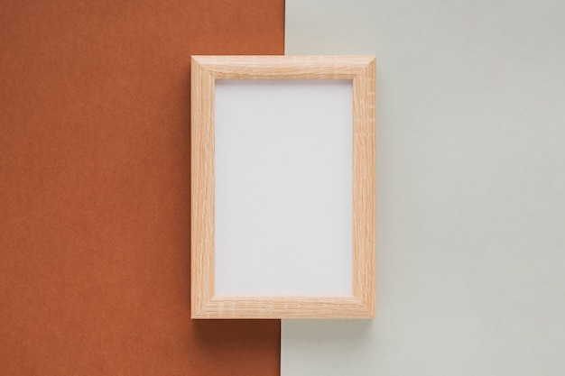 Flat lay vertical wooden frame