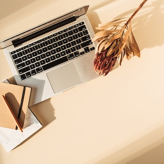 Flat lay view of laptop, protea flower and notebook. minimal girl boss blog work concept