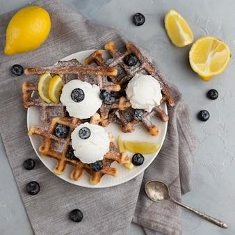 Flat lay waffle arrangement
