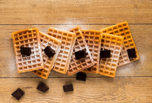 Flat lay of waffles with chocolate pieces