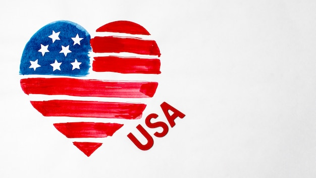 フラット横たわっていた水彩ハート形アメリカ国旗