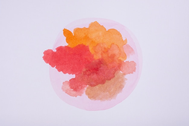 Flat lay watercolor stain on paper