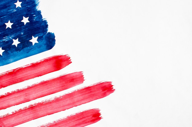 Flat lay watercolor usa flag with copy-space