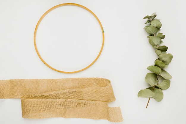 Flat lay wedding composition with ring