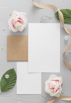 Flat lay of wedding concept with copy space