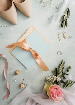 Flat lay wedding decorative ornaments