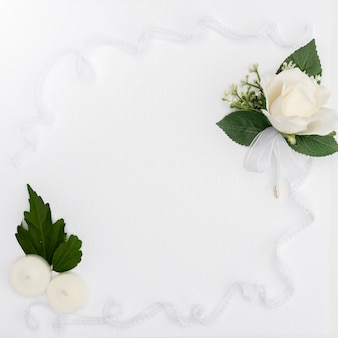 Flat lay wedding flower frame