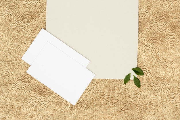 Flat lay wedding greeting card with copy space