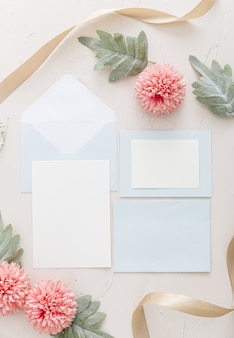 Flat lay of wedding invitation with copy space
