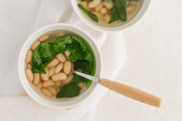 Flat lay white beans soup