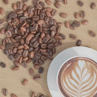 木のテーブルの上に平らな白いコーヒーカップとコーヒー豆を置きます
