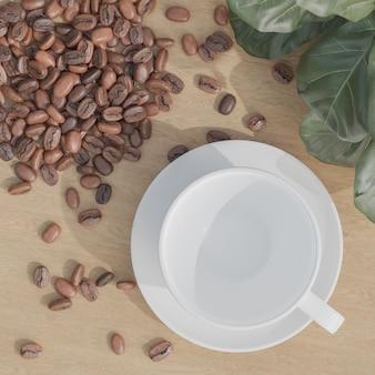 平らに置いた白い空のコーヒーカップと木製のテーブルの上のコーヒー豆
