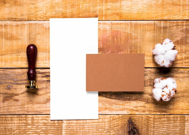Flat lay white envelope with stamp