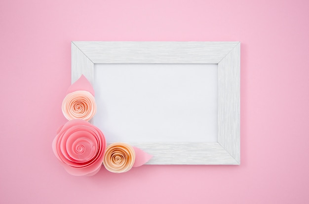 Flat lay white floral frame