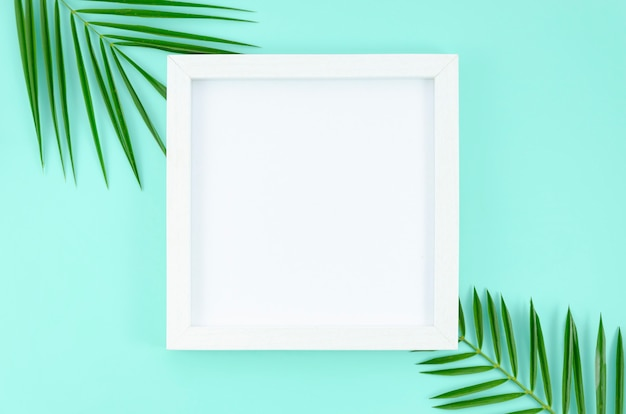 Flat lay white frame at light blue background with palm tree