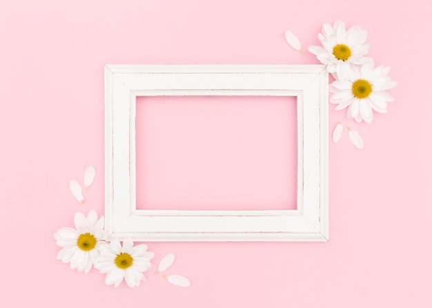 Flat lay of white frame with copy space