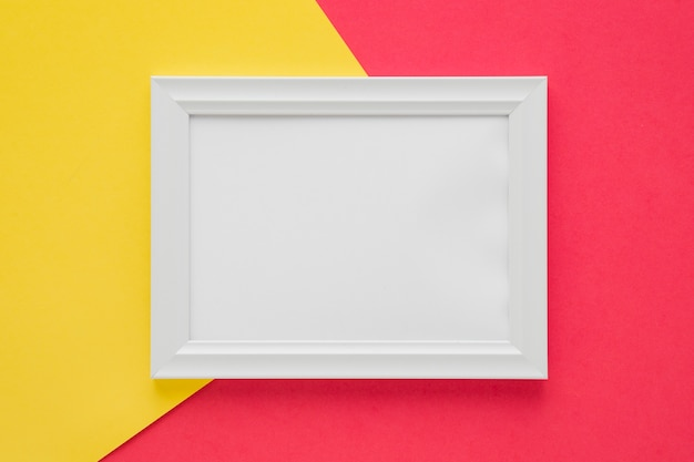Flat lay white frame with empty space