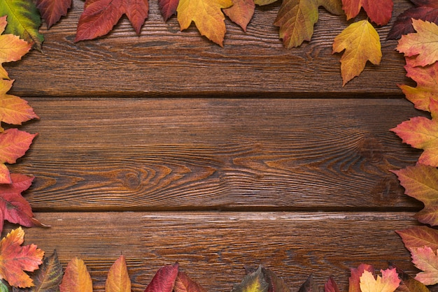 Flat lay with autumn leaves border frame on rustic dark wooden background.