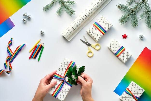 Flat lay with christmas decorations and text xmas