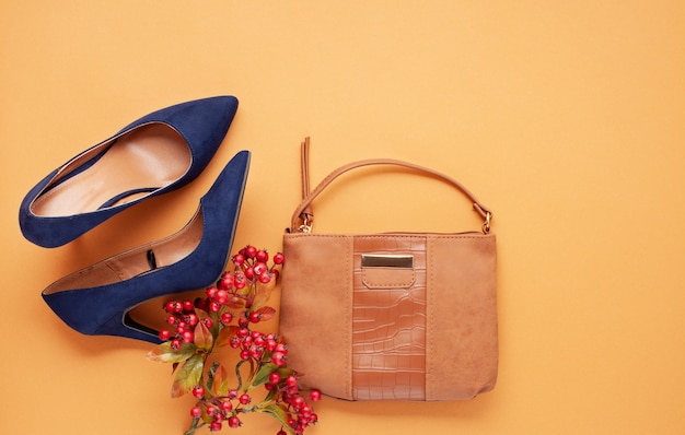 Flat lay with collection of autumn women's accessories. shopping,  fashion blog, sale, gift ideas concept.