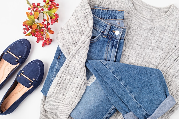 Flat lay with comfort warm outfit for cold weather