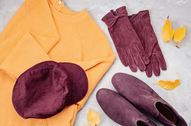 Flat lay with comfort warm outfit for cold weather.