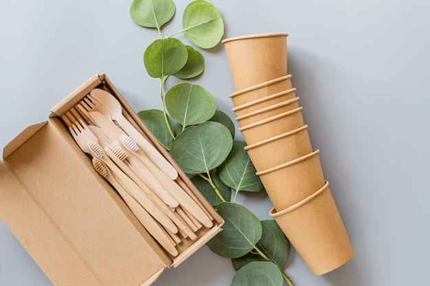 Flat lay with eco natural products